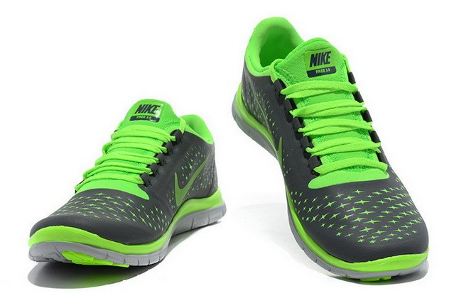 Mens Nike Free Run 3.0 V4 Grey Fluorescent Green Reflect Silver Running Shoes