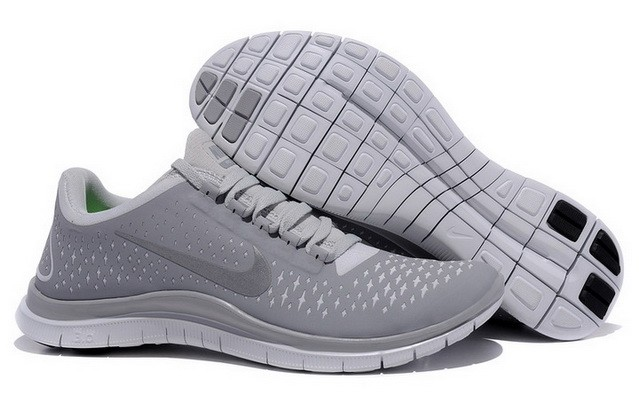 Mens Nike Free Run 3.0 V4 Grey Reflect Silver Running Shoes