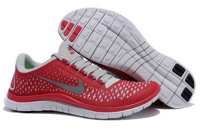 Mens Nike Free Run 3.0 V4 Red Reflect Silver Running Shoes