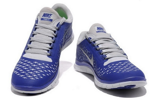 Mens Nike Free Run 3.0 V4 Sapphire Blue Reflect Silver Running Shoes
