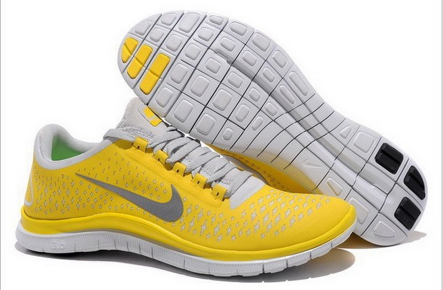 Mens Nike Free Run 3.0 V4 Yellow Reflect Silver Running Shoes
