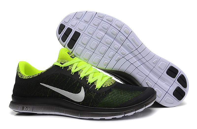 Mens Nike Free Run 3.0 V6 Black Fluorescent Green Running Shoes