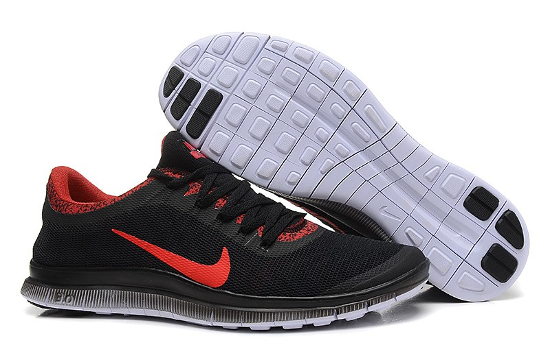 Mens Nike Free Run 3.0 V6 Black Red Running Shoes