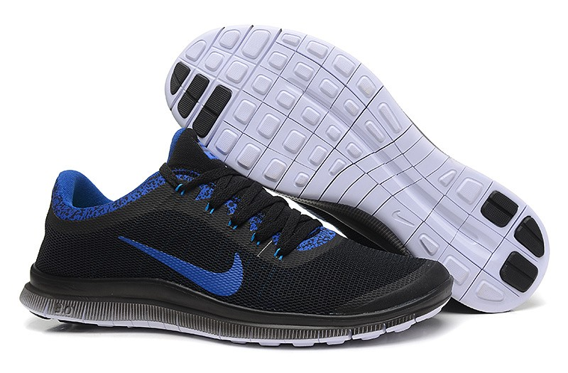 Mens Nike Free Run 3.0 V6 Black Sapphire Blue Running Shoes