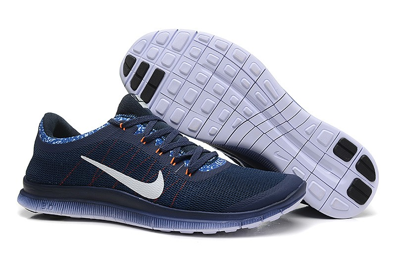 Mens Nike Free Run 3.0 V6 Dark Blue White Running Shoes