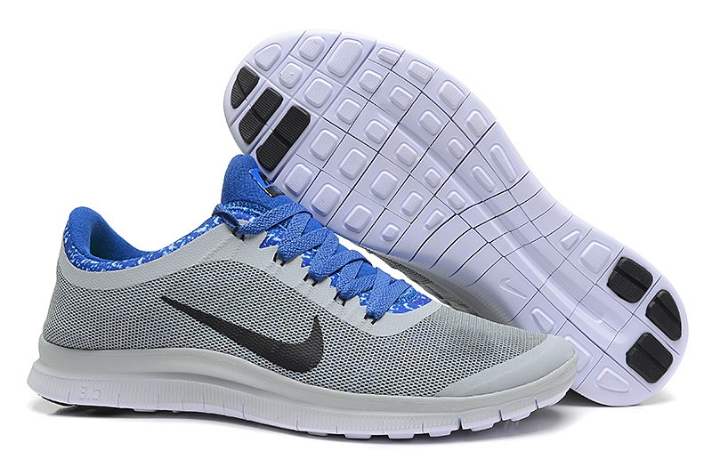 Mens Nike Free Run 3.0 V6 Light Grey Sapphire Blue Running Shoes