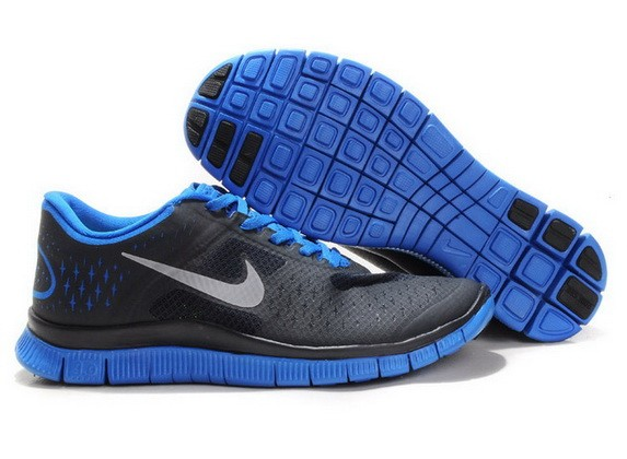 Mens Nike Free Run 4.0 V2 Black Blue Running Shoes