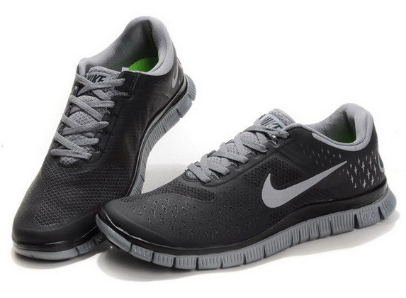 Mens Nike Free Run 4.0 V2 Black Grey Running Shoes