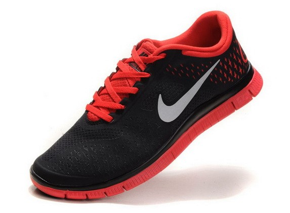 Mens Nike Free Run 4.0 V2 Black Red Running Shoes