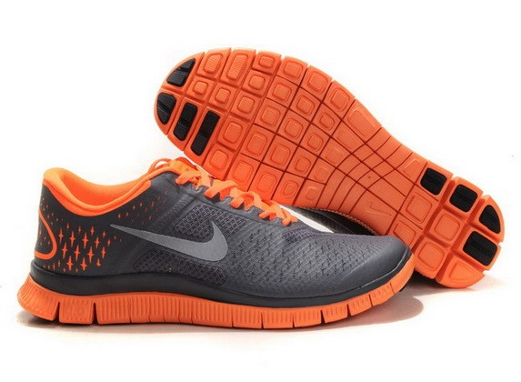 Mens Nike Free Run 4.0 V2 Dark Grey Orange Running Shoes