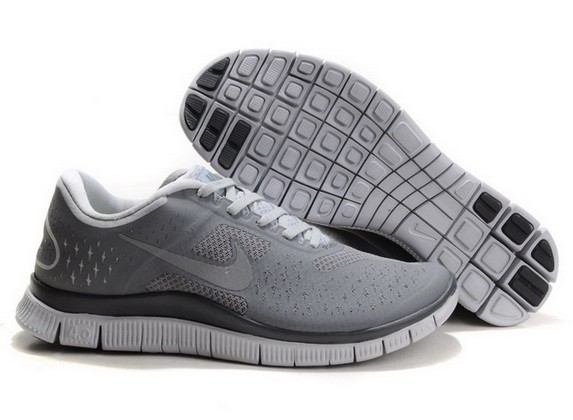 Mens Nike Free Run 4.0 V2 Grey Black Running Shoes