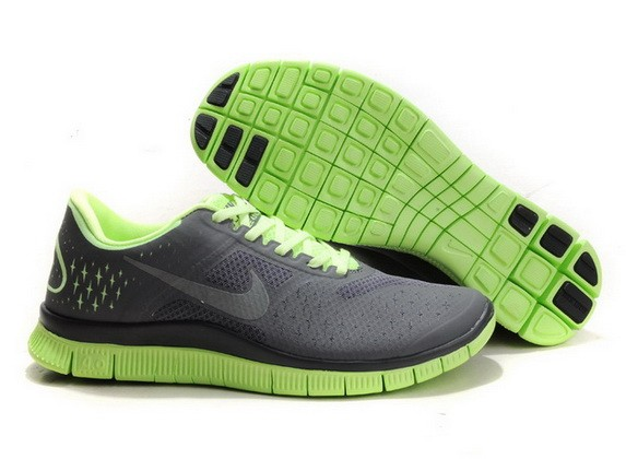 Mens Nike Free Run 4.0 V2 Grey Green Running Shoes