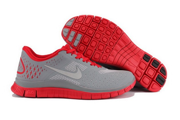 Mens Nike Free Run 4.0 V2 Grey Red Running Shoes