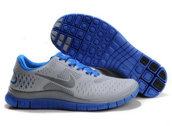 Mens Nike Free Run 4.0 V2 Grey Sapphire Blue Running Shoes