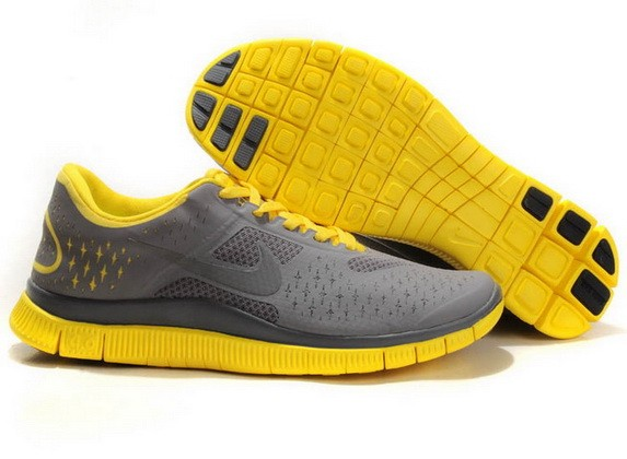 Mens Nike Free Run 4.0 V2 Grey Yellow Running Shoes