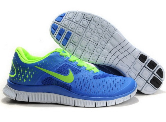 Mens Nike Free Run 4.0 V2 Sapphire Blue Green Running Shoes