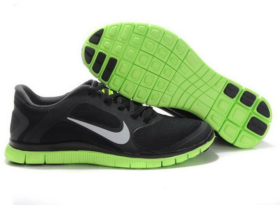 Mens Nike Free Run 4.0 V3 Black Green Running Shoes