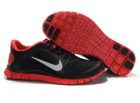 Mens Nike Free Run 4.0 V3 Black Red Running Shoes