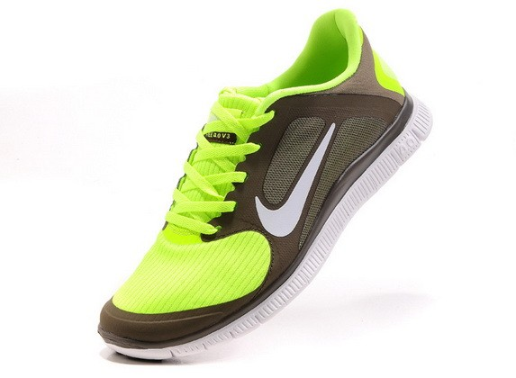 Mens Nike Free Run 4.0 V3 Coffee Green Running Shoes