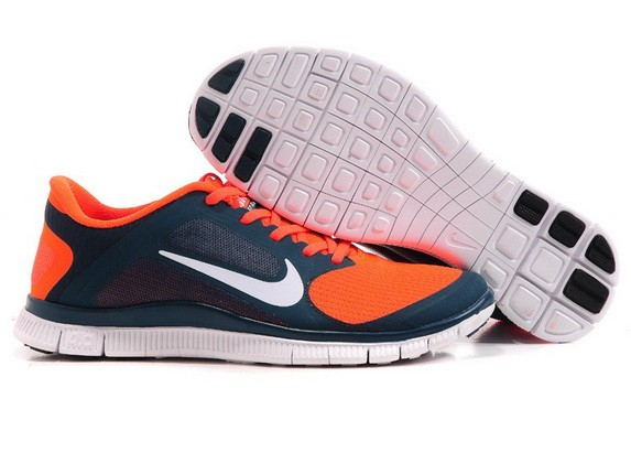 Mens Nike Free Run 4.0 V3 Dark Blue Orange Running Shoes