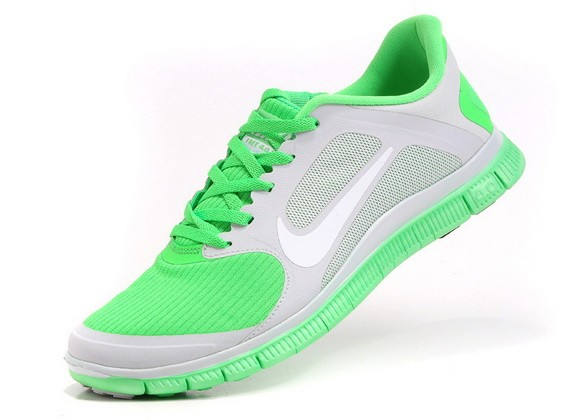 Mens Nike Free Run 4.0 V3 Grey Apple Green Running Shoes