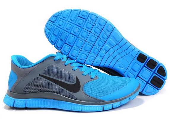 Mens Nike Free Run 4.0 V3 Grey Blue Running Shoes