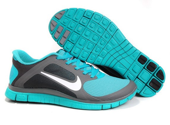 Mens Nike Free Run 4.0 V3 Grey Lake Blue Running Shoes