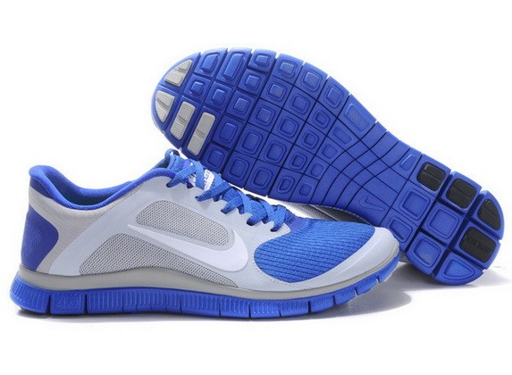Mens Nike Free Run 4.0 V3 Sapphire Blue Grey Running Shoes
