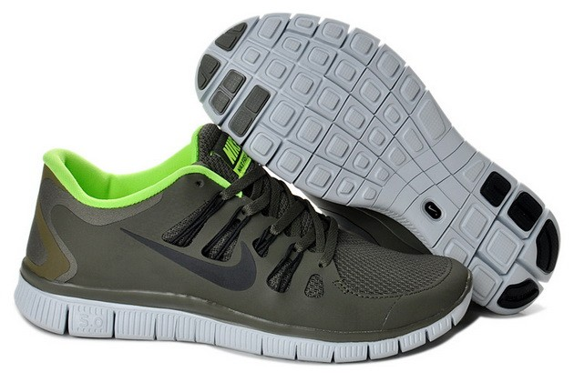 Mens Nike Free Run 5.0 V2 Army Green Fluorescent Green Running Shoes