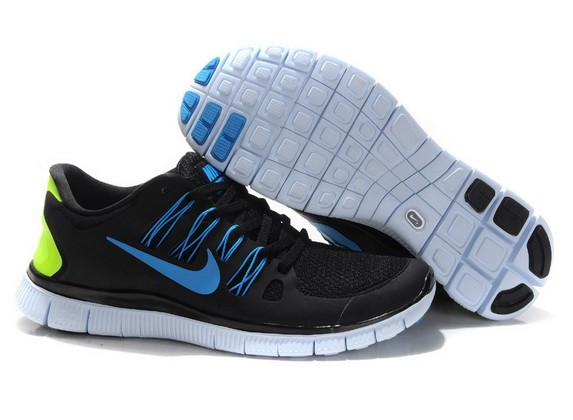Mens Nike Free Run 5.0 V2 Black Blue Running Shoes