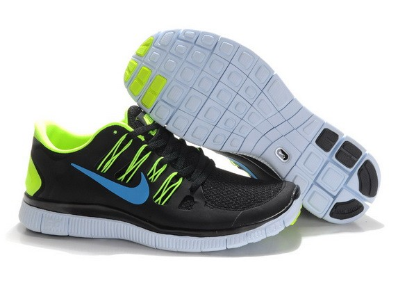 Mens Nike Free Run 5.0 V2 Black Fluorescent Green Running Shoes