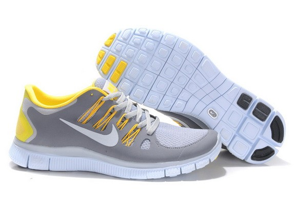 Mens Nike Free Run 5.0 V2 Grey Yellow Running Shoes