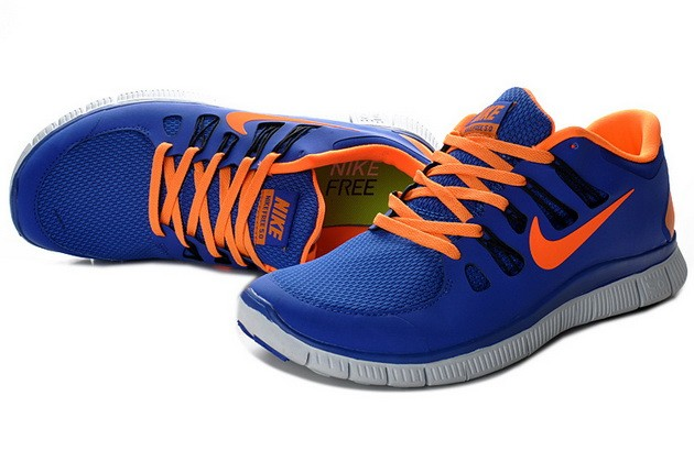Mens Nike Free Run 5.0 V2 Sapphire Blue Orange Running Shoes
