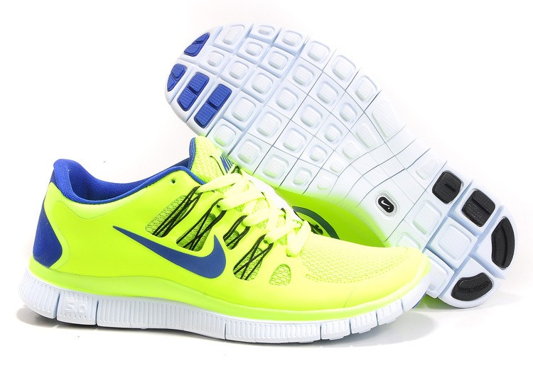 Mens Nike Free Run 5.0 V2 Yellow Blue Running Shoes
