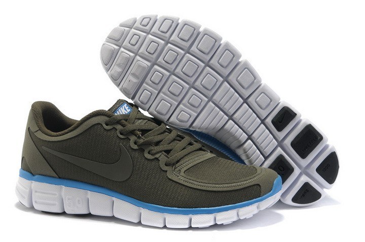 Mens Nike Free Run 5.0 V4 Army Green Running Shoes