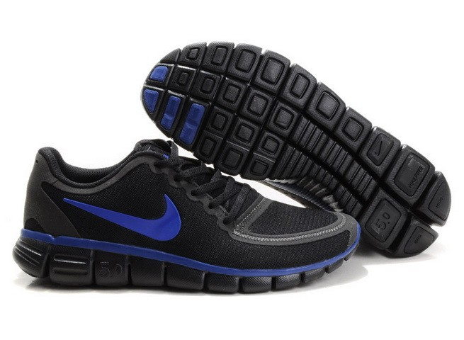 Mens Nike Free Run 5.0 V4 Black Blue Running Shoes