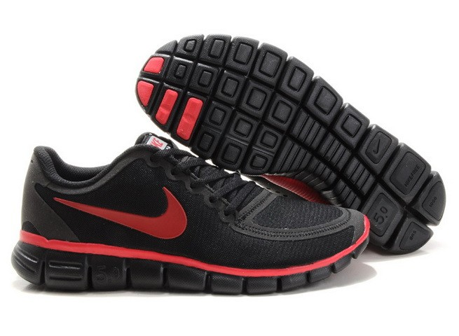 Mens Nike Free Run 5.0 V4 Black Red Running Shoes