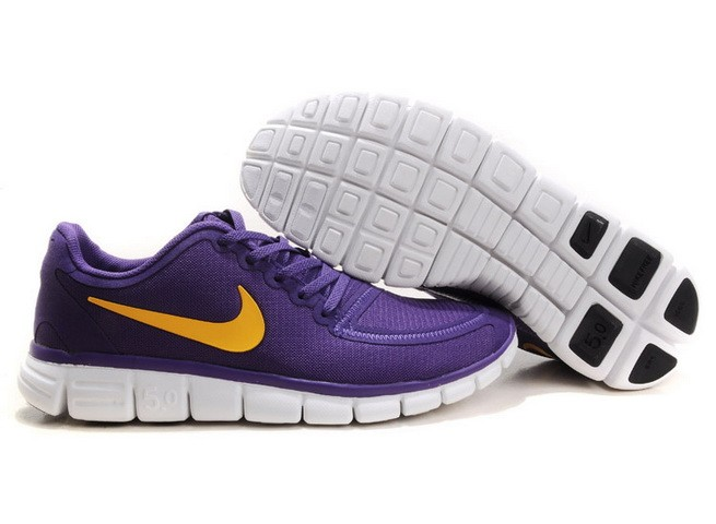 Mens Nike Free Run 5.0 V4 Purple Yellow Running Shoes