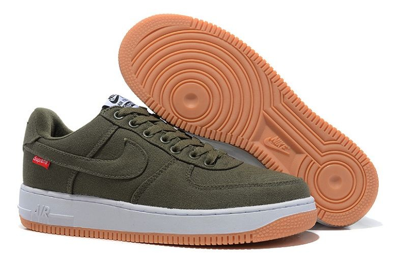 Nike Air Force 1 Low Mens Trainers Canvas Army Green