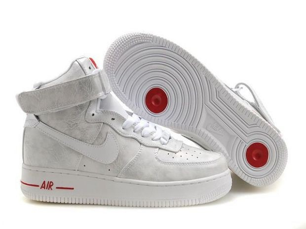Nike Air Force 1 Mid 07 Women's Shoe White Sliver Red