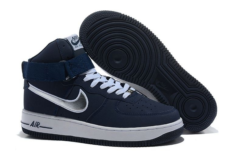 Nike Air Force 1 Mid Mens Trainers Navy Silver White