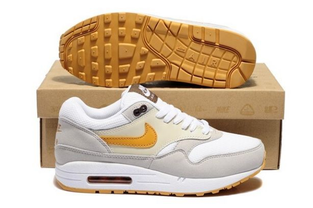 Nike Air Max 1 Essential Mens Trainers Beige White Grey Gold