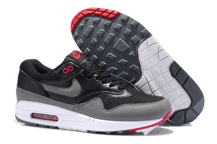 Nike Air Max 1 Essential Mens Trainers Black Grey Team Orange