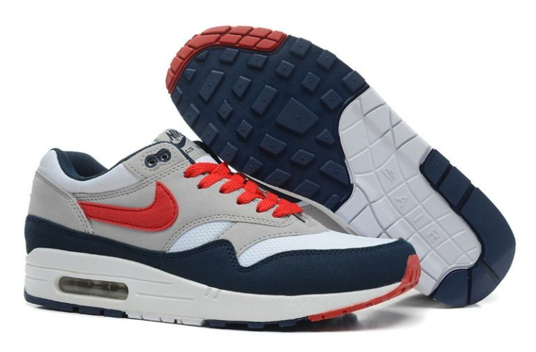 Nike Air Max 1 Essential Mens Trainers Sport Grey Red Navy