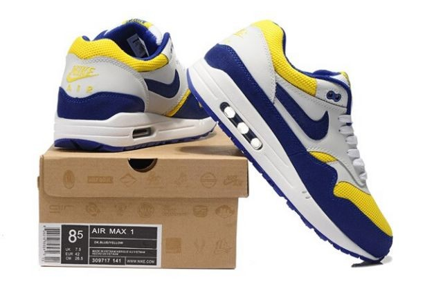Nike Air Max 1 Essential Mens Trainers White Royal Yellow