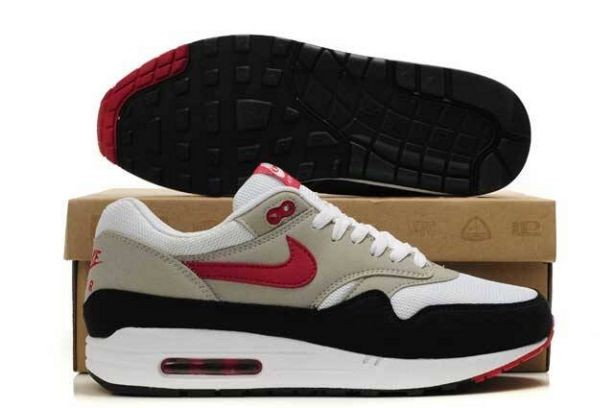 Nike Air Max 1 Mens Trainers Grey Black Sport Red
