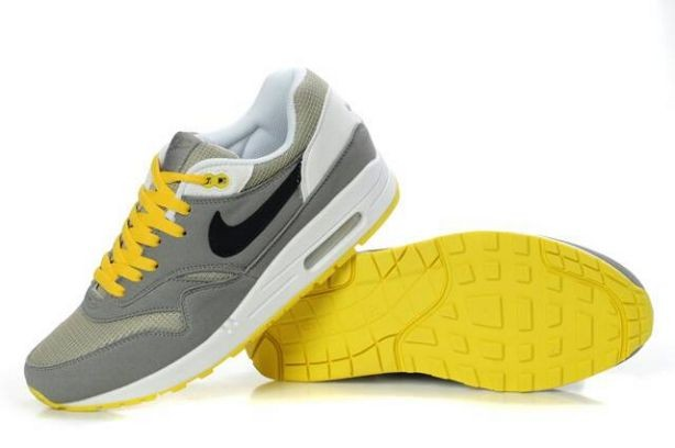 Nike Air Max 1 Mens Trainers Grey Black White Yellow