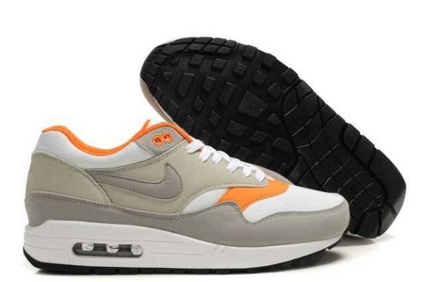 Nike Air Max 1 Mens Trainers Grey White Orange