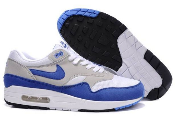 Nike Air Max 1 Mens Trainers QS White Varsity Royal Neutral Grey
