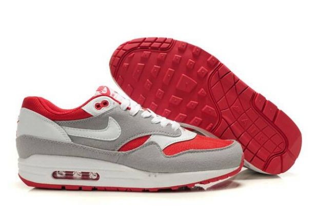Nike Air Max 1 Mens Trainers Wolf Grey White Red